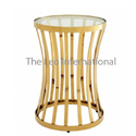 Decorative designer golden finish coffee table metal and glass