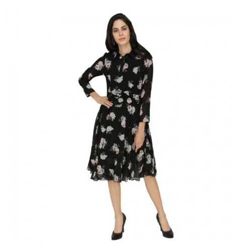 Medium And Large Black Floral Georgette Collared Dress