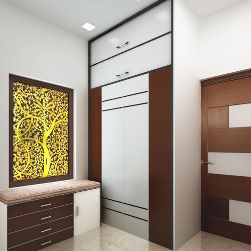 Aluminium Modular Kitchen At Rs 1100 Square Feet: Brown & White Wooden Wardrobe, Rs 1100 /square Feet
