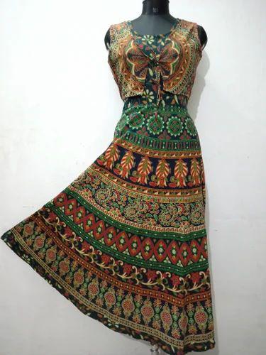 Cotton Sleeveless Rajasthani Jacket Attached Midi Frock 596f08f96
