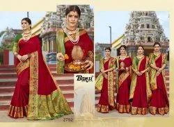 Bansi Fashion Present Kanjivaram Silk Cotton Jacquard Good Looking Saree