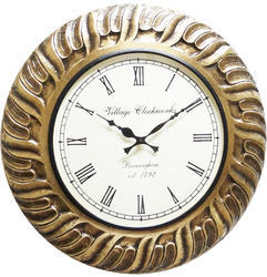 Golden Wood Brass Fitted Wall Clock