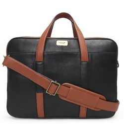 Black Tan Dual Zip Leather Laptop Briefcase
