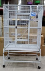 White Mild Steel Bird Cages-4 Feet Height With Wheel