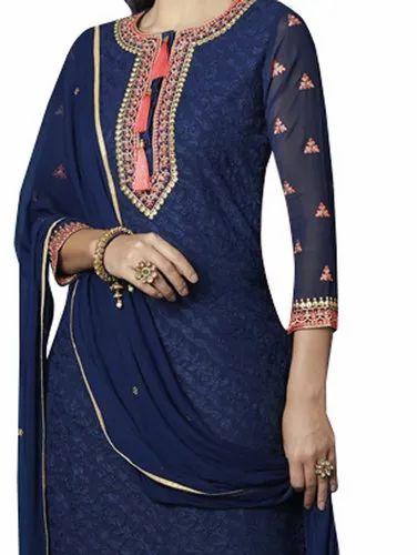 45eeaaaf86 Georgette/Chiffon Wedding Wear Navy Blue Color Salwar Kameez, Rs ...
