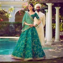 Embroidery Green Mulbury Silk Wedding Wear
