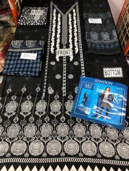 Black, White Cotton Pakistani Suits