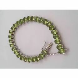 Anmol Exports Party wear Peridot Tennis Bracelet Sterling Silver Jewelry, Packaging Type: Box