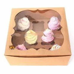 8 Cavity Brown Cloud Window Cupcake Box