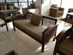 Dark Brown LR Teak Wood Settee Sofa, For Living Room