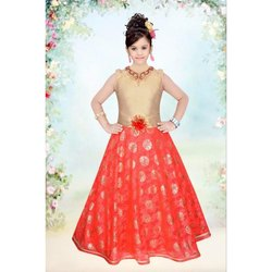Ethnic Printed Flower Orange Girls Gown, Size: 28X38, Age Group: 1-18 Year