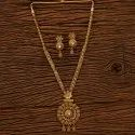 Copper Antique Long Necklace Set With Gold Plating 200763