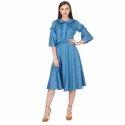 Cobalt Blue Below Knee Dress