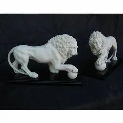 Marble Lion Pair
