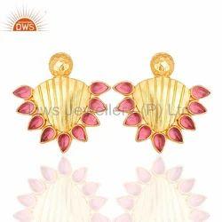 925 Silver Jewelry Hydro Pink Gemstone Stud Earring