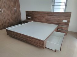 Plywood bed with drawer & side table