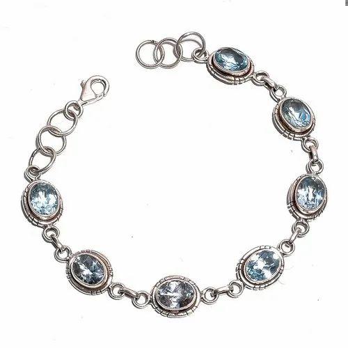 Bismillah Jewels Aqua Aquamarine Gemstone Silver Bracelet