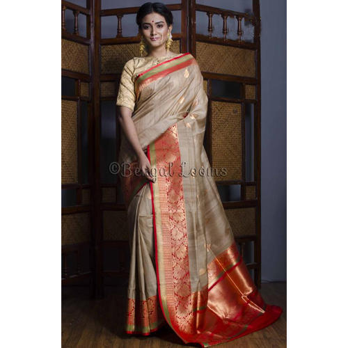5f66cdbb31 Pure Handloom Tussar Banarasi Saree in Beige, Red and Green at Rs ...