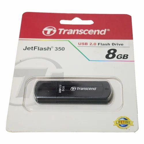 Plastic Black Transcend 8GB Pen Drive Memory Size 8 Gb