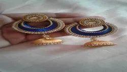KT COLLECTION Chandbali Silk Thread Earrings