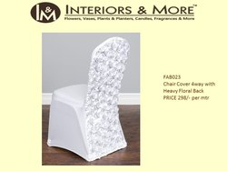 Interiors & More White Chair Cover 4way with Heavy Floral Back, For Wedding, 100