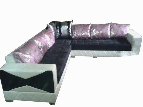 Open Furnitures Black L Shape Sofa, Back Style: Cushion Back, 4 Years