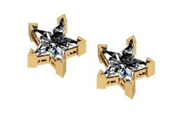 1.25TCW Real Star Pie Cut Diamond Stud Earring