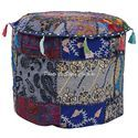 Ethnic Patchwork Ottoman Round Embroidered Cushion Cover