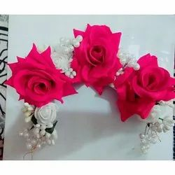 Artificial Red Flower Bun