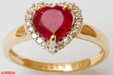 Genuine Heart Ruby With Diamonds Valentine Ring For Her