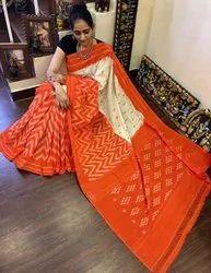 Cotton Ikkat Pochampally Sarees, Hand Made