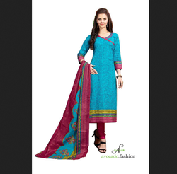 Printed Blue And Magenta Cotton Salwar Material