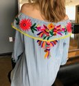 Off Shoulder Embroidery Mexican Blouses