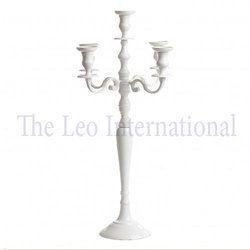 White Color Decorative Aluminium Metal 5 Arm Candelabra