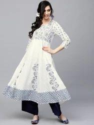 Cotton Regular White & Blue Hand Block Printed Kurti