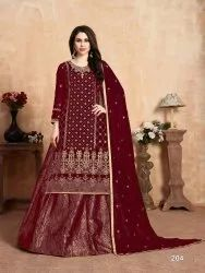 Georgette Fabric Embroidered Suit with Jacquard Sharara
