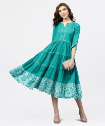 Turquiose Blue Tiered Dress With Round Neck And 3/4 Sleeves