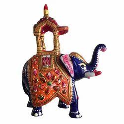 Metal Meenakari Ambari Statue, Usage: Home Decoration, Art & Collectible