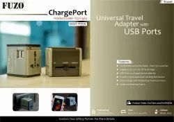 Black and Grey Plastic FUZO ChargePort Universal Travel Adapter with USB Port - TGZ-1903