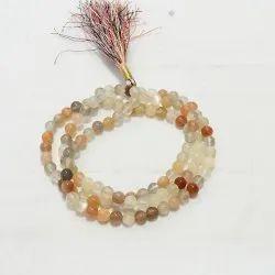 Round Multi Moonstone Rosary Mala Beads, Size: 4-6 Mm