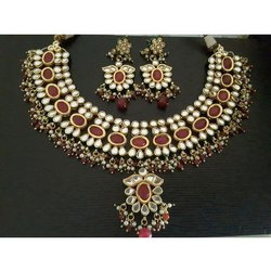 Alloy Metal Party Wear Imitation Necklace Set, Packaging Type: Box