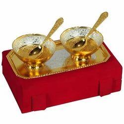 Silver, Golden 2 Pcs Designer Bowl Gift Set, Size: 22 X 12 X 6 Cm (w X L X H)