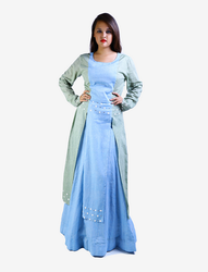 38 Pastel Blue Front Double Slits Kurti And Skirt Set