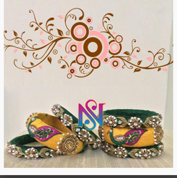 Yellow And Green Designer Zardosi Bangles