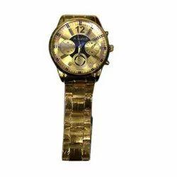Men Round Mens Golden Wrist Watch