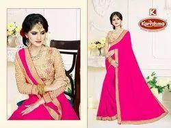 Border Saree With Embroidered Blouse - Ishika-13