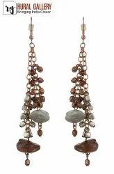 Copper & Grey Color Metal Earring