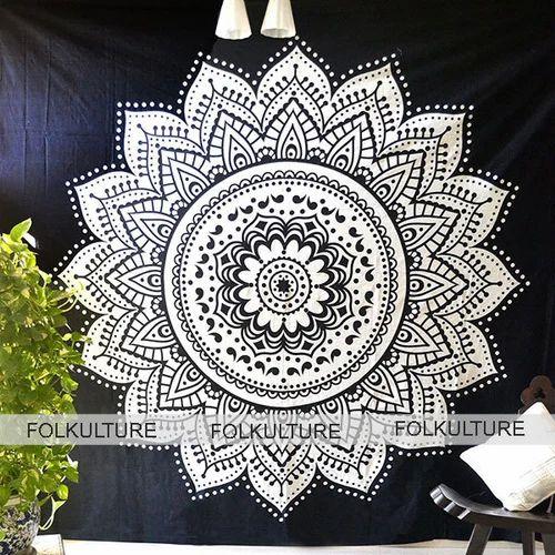 Rectanglerectangle Black White Lotus Flower Mandala Tapestry Boho