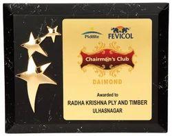 Wooden Certificate Marble Plaque 3 Line Star