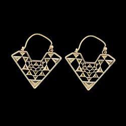 Mandala Bohemian Brass Triangle Shape Women Wedding Hoop Earrings